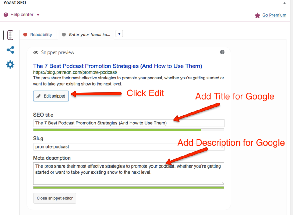 How to edit SEO title and description with Yoast