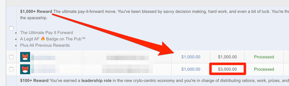 Image shows two patrons who supported them at the $1,000 tier while it was offered