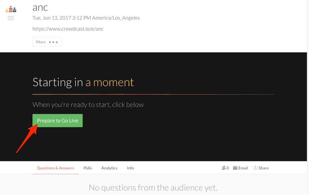 Crowdcast is useful for live streaming or Q&A's.