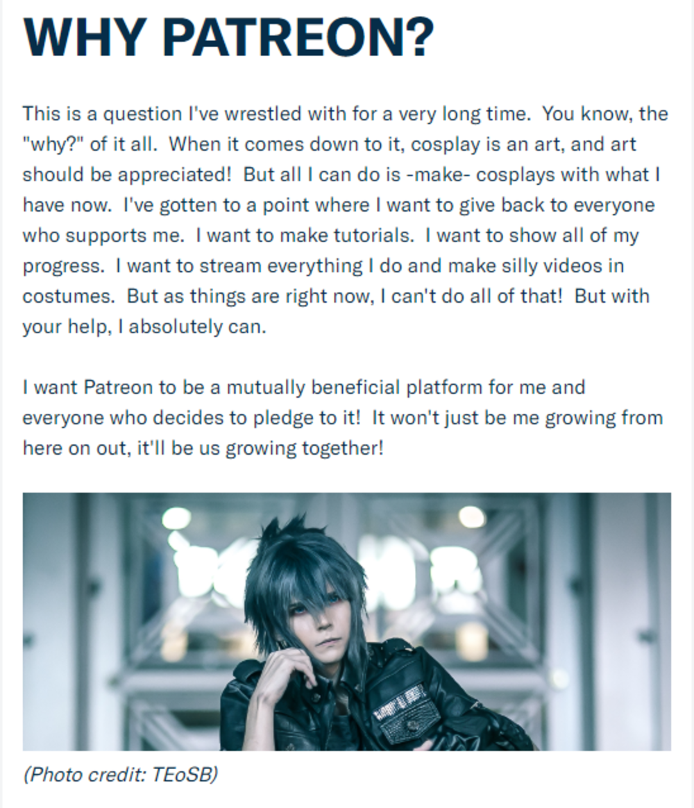 Patreon Cosplay: John Cerabino explains why he chose to utilize Patreon.